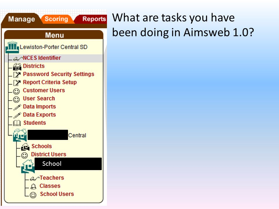 What are tasks you have been doing in Aimsweb 1.0