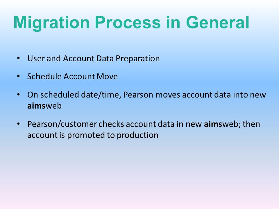 Migration Process in General