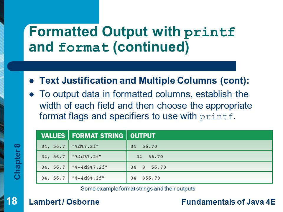 Formatted Output with printf and format (continued)