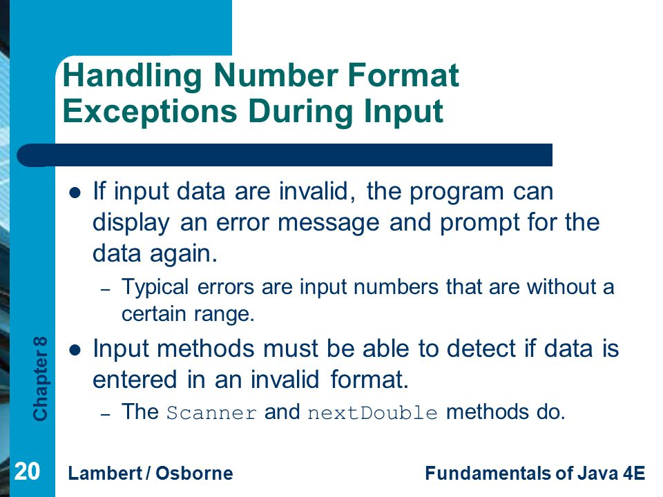 Handling Number Format Exceptions During Input