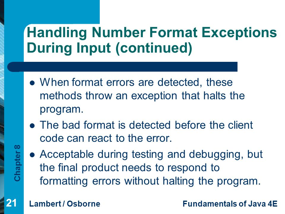 Handling Number Format Exceptions During Input (continued)