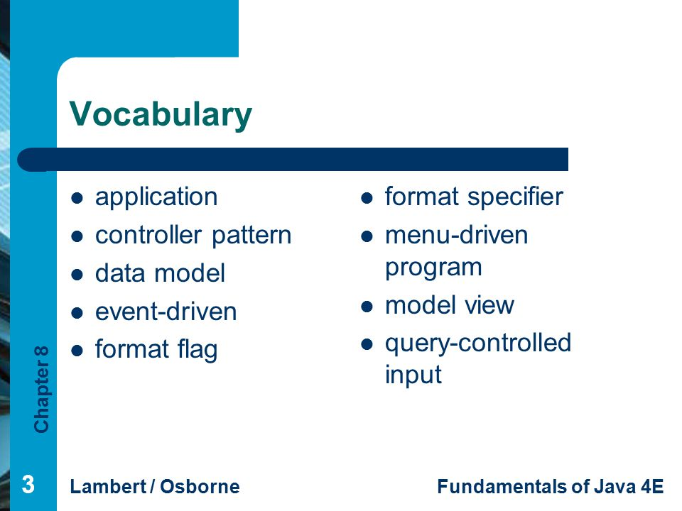 Vocabulary application controller pattern data model event-driven