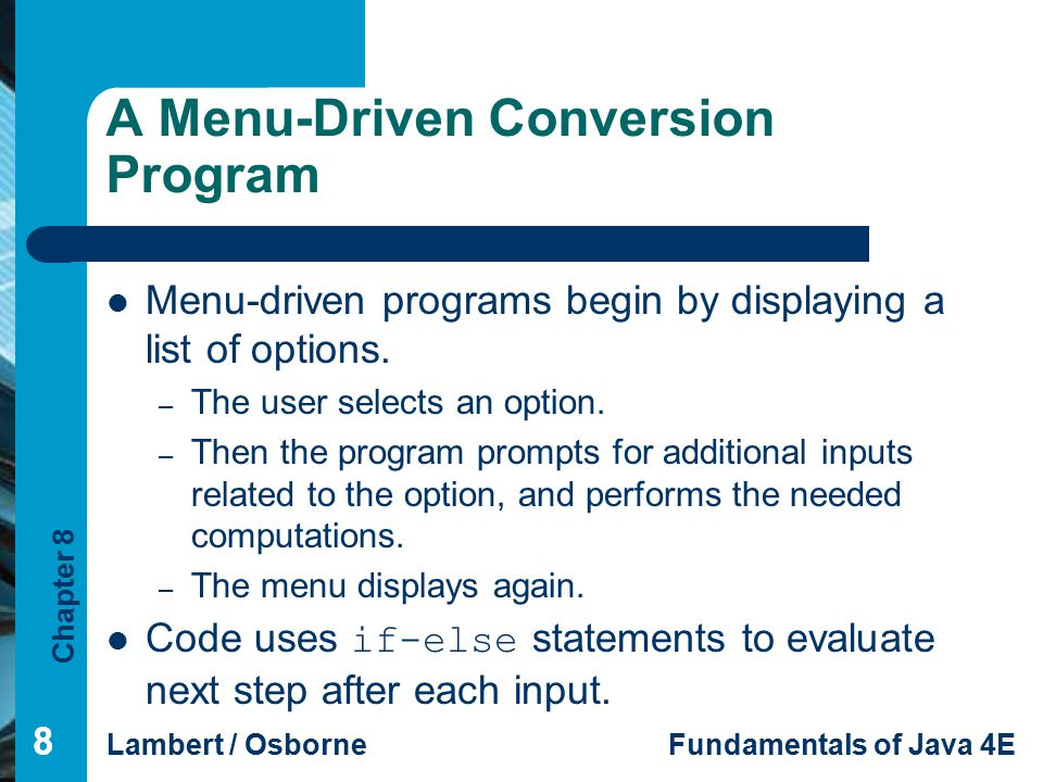 A Menu-Driven Conversion Program