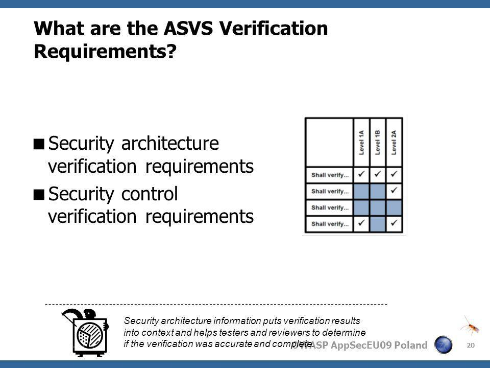 What are the ASVS Verification Requirements