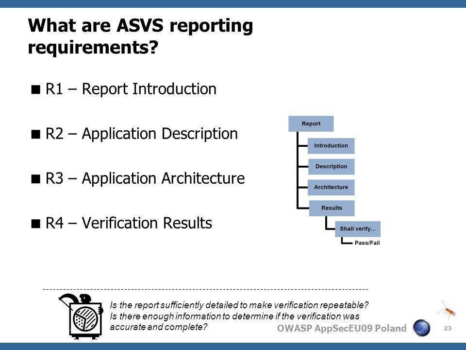 What are ASVS reporting requirements