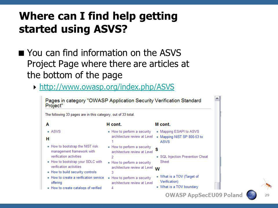 Where can I find help getting started using ASVS