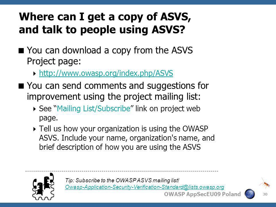 Where can I get a copy of ASVS, and talk to people using ASVS