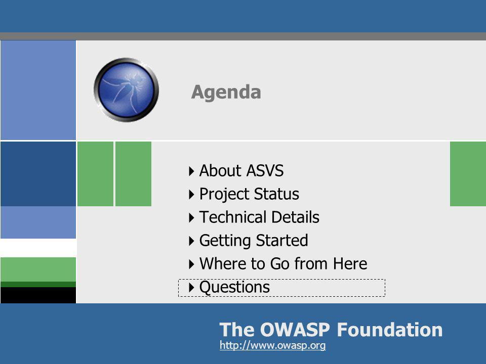 Agenda The OWASP Foundation About ASVS Project Status