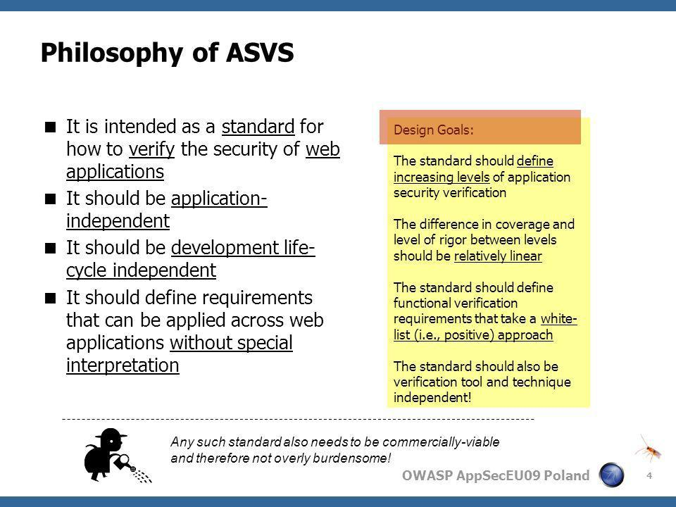 Philosophy of ASVS It is intended as a standard for how to verify the security of web applications.