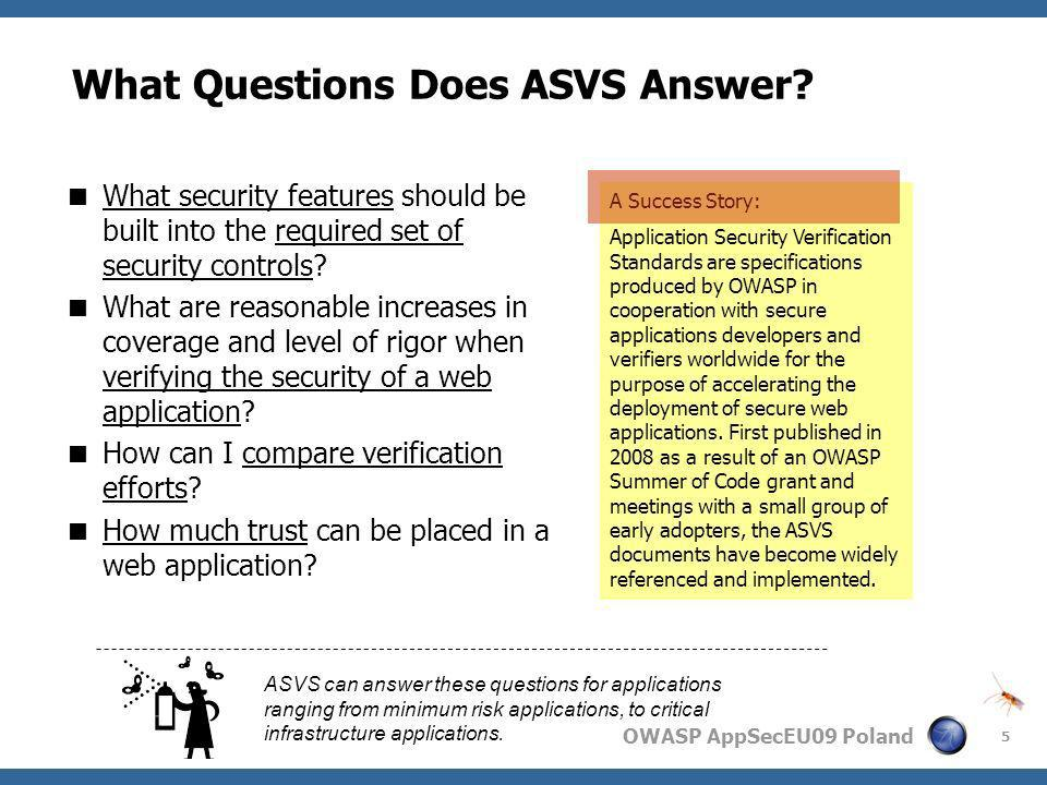 What Questions Does ASVS Answer