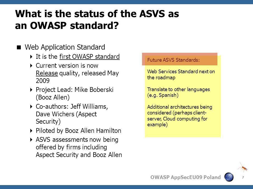 What is the status of the ASVS as an OWASP standard