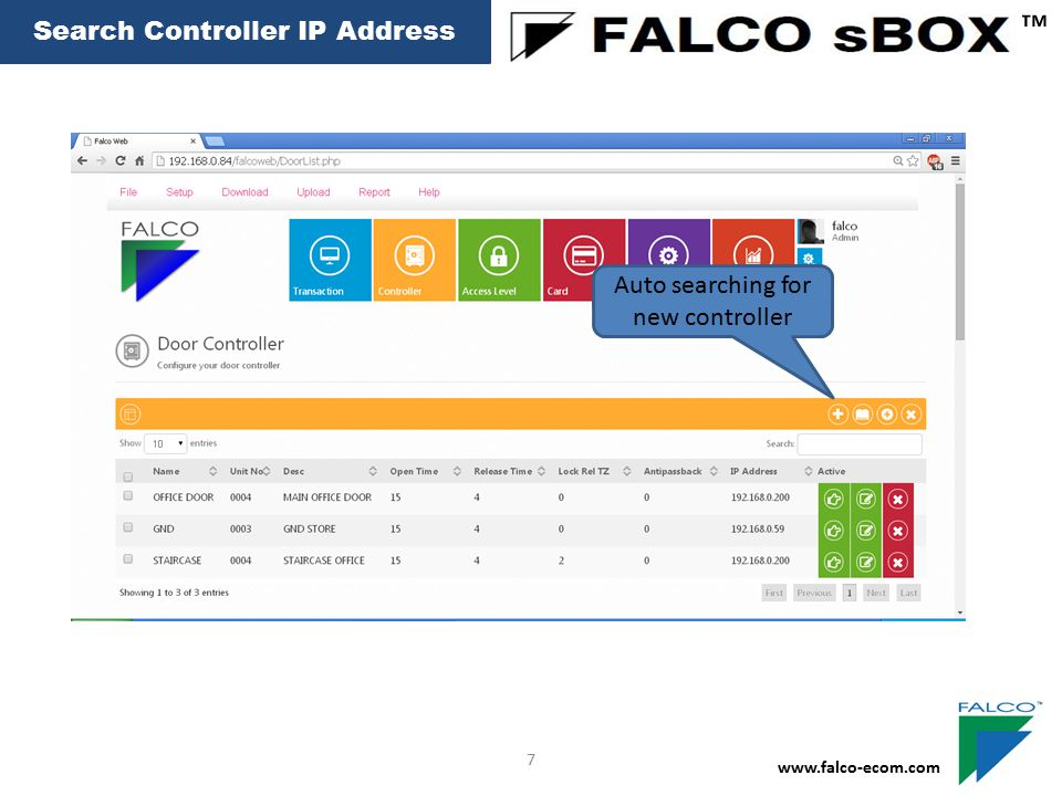 ™ Search Controller IP Address Auto searching for new controller 7