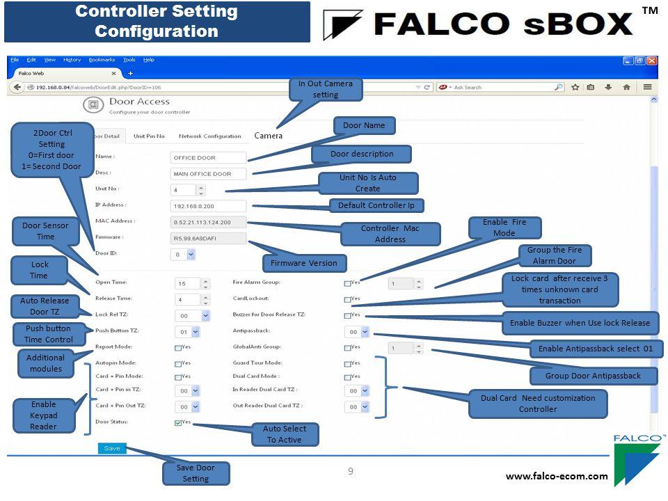 ™ Controller Setting Configuration 9 www.falco-ecom.com