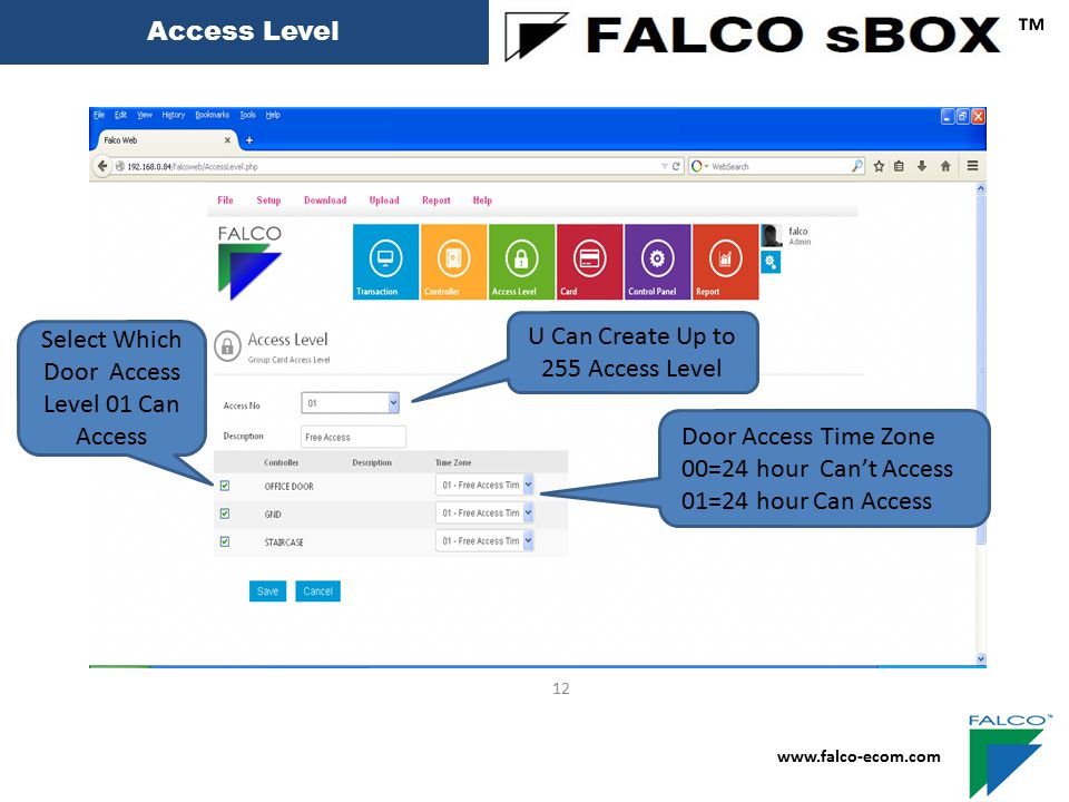 ™ Access Level U Can Create Up to 255 Access Level