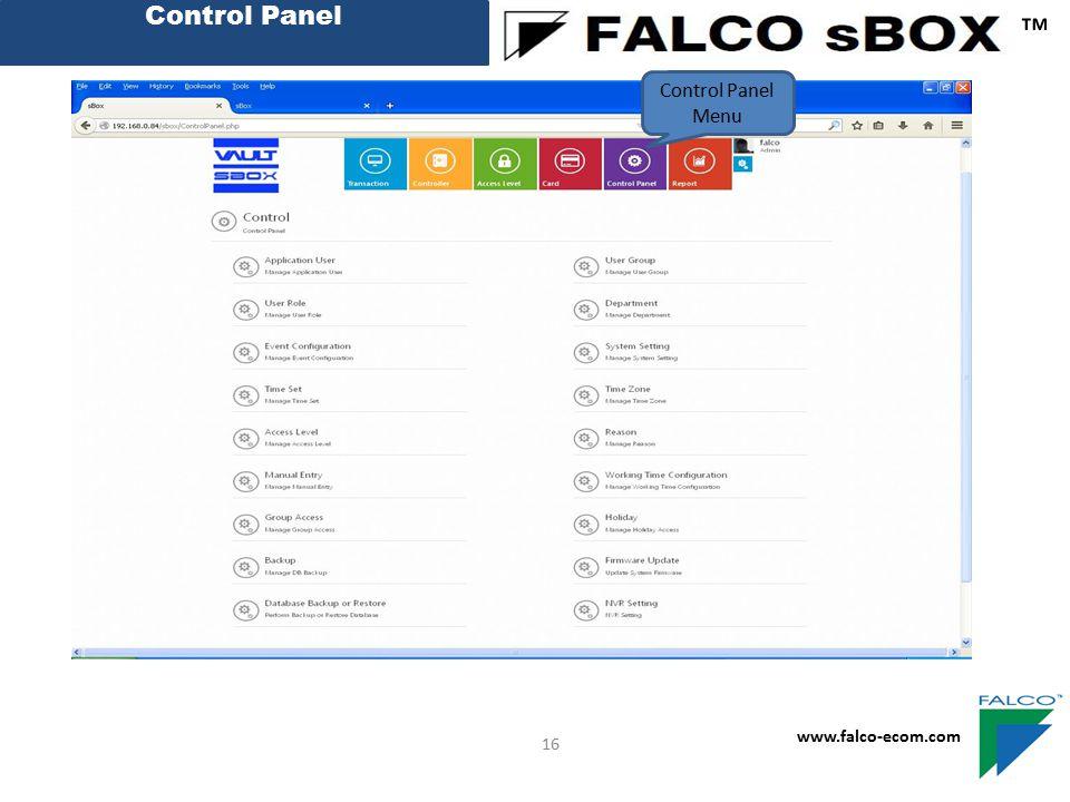 Control Panel ™ Control Panel Menu 16 www.falco-ecom.com
