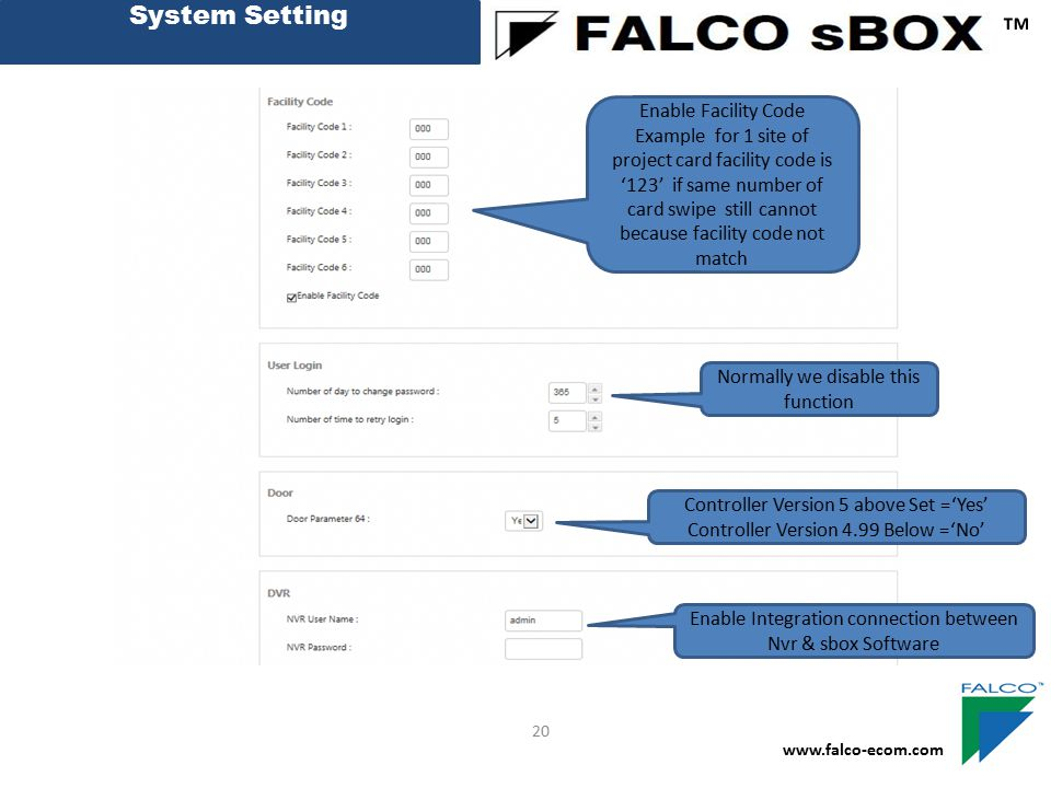 ™ System Setting Enable Facility Code