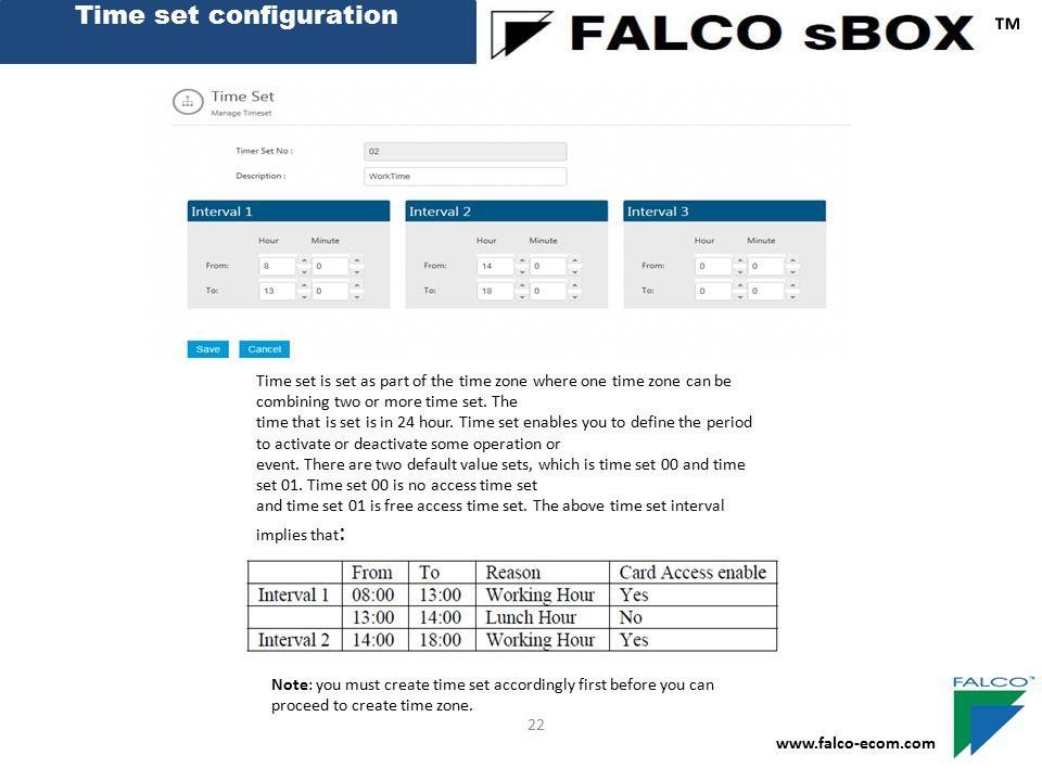 Time set configuration