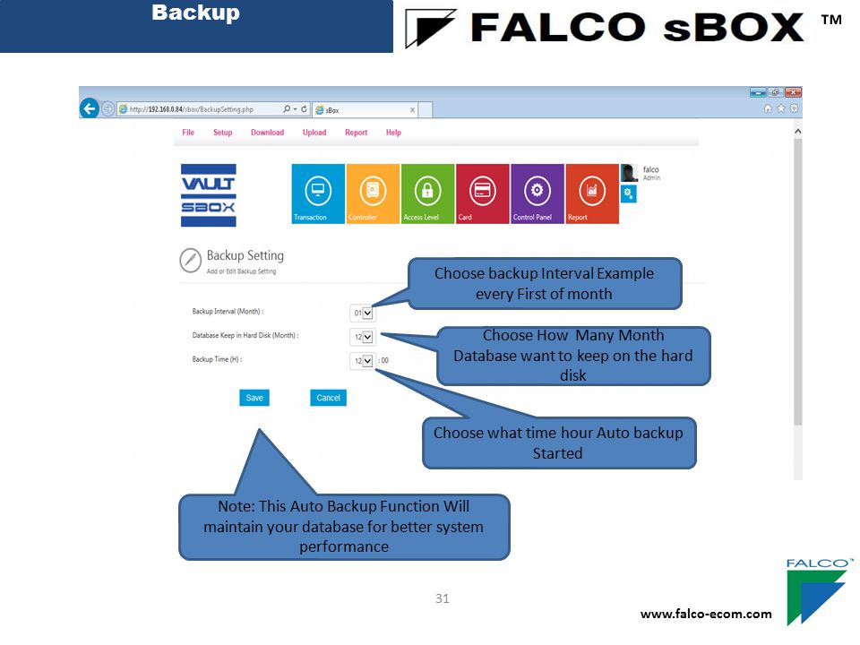 ™ Backup Choose backup Interval Example every First of month