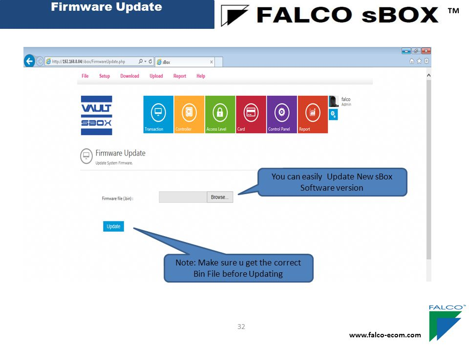 ™ Firmware Update You can easily Update New sBox Software version