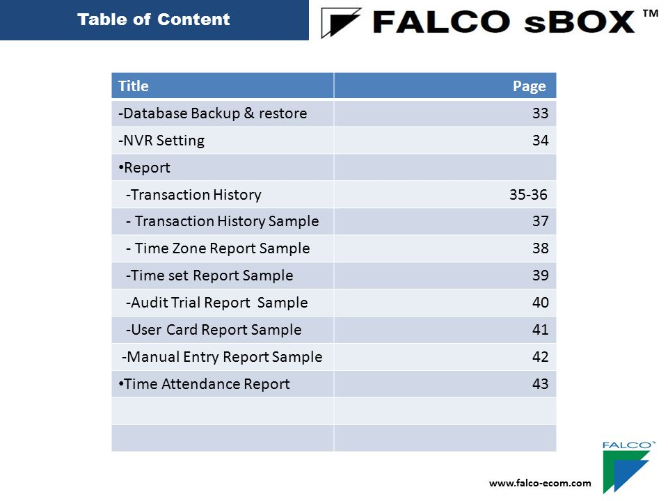 ™ Table of Content Title Page -Database Backup & restore 33
