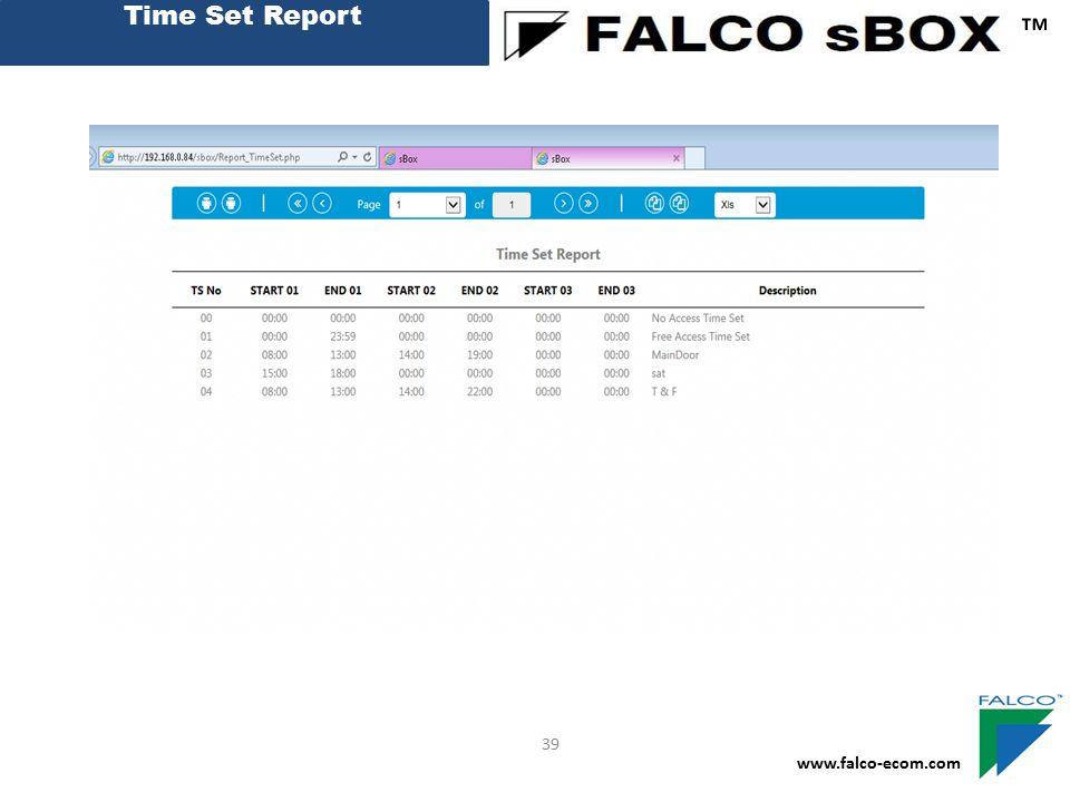 Time Set Report ™ 39 www.falco-ecom.com