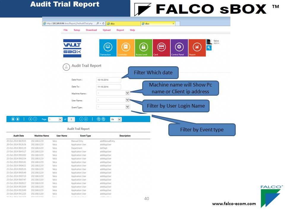 ™ Audit Trial Report Filter Which date