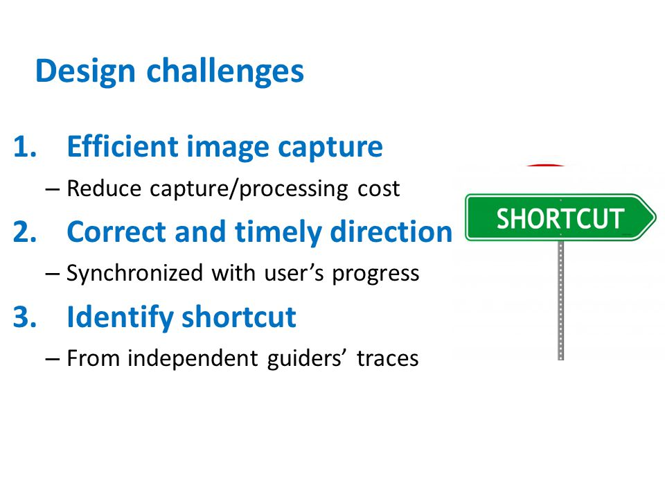 Design challenges Efficient image capture Correct and timely direction