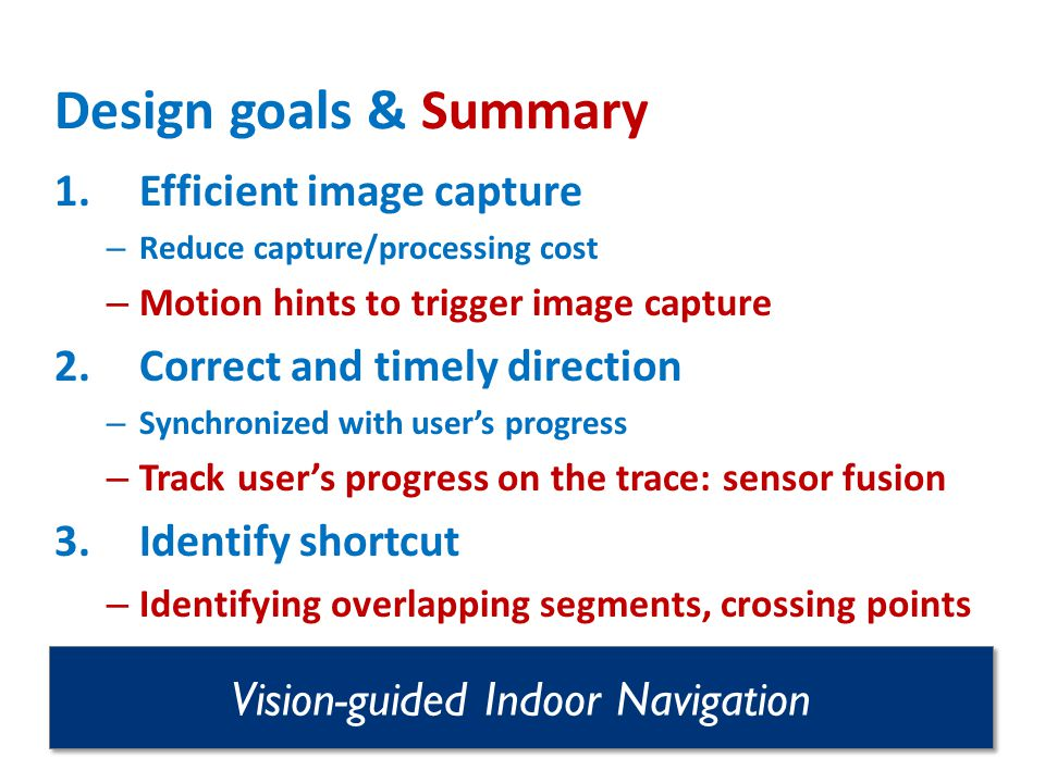 Vision-guided Indoor Navigation