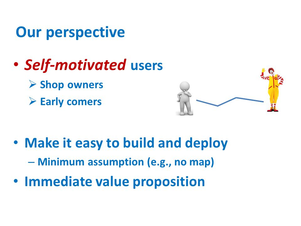Our perspective Self-motivated users Make it easy to build and deploy
