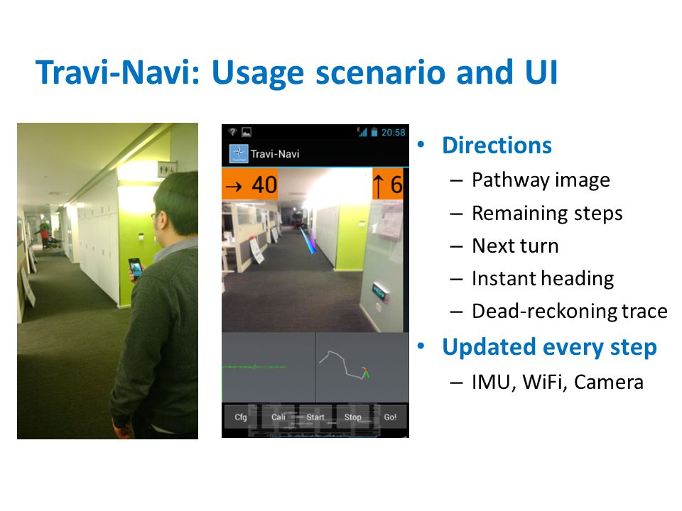 Travi-Navi: Usage scenario and UI