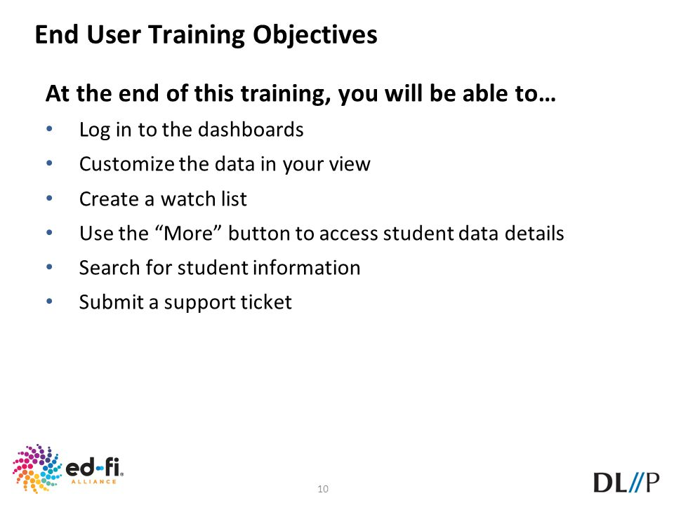 End User Training Objectives