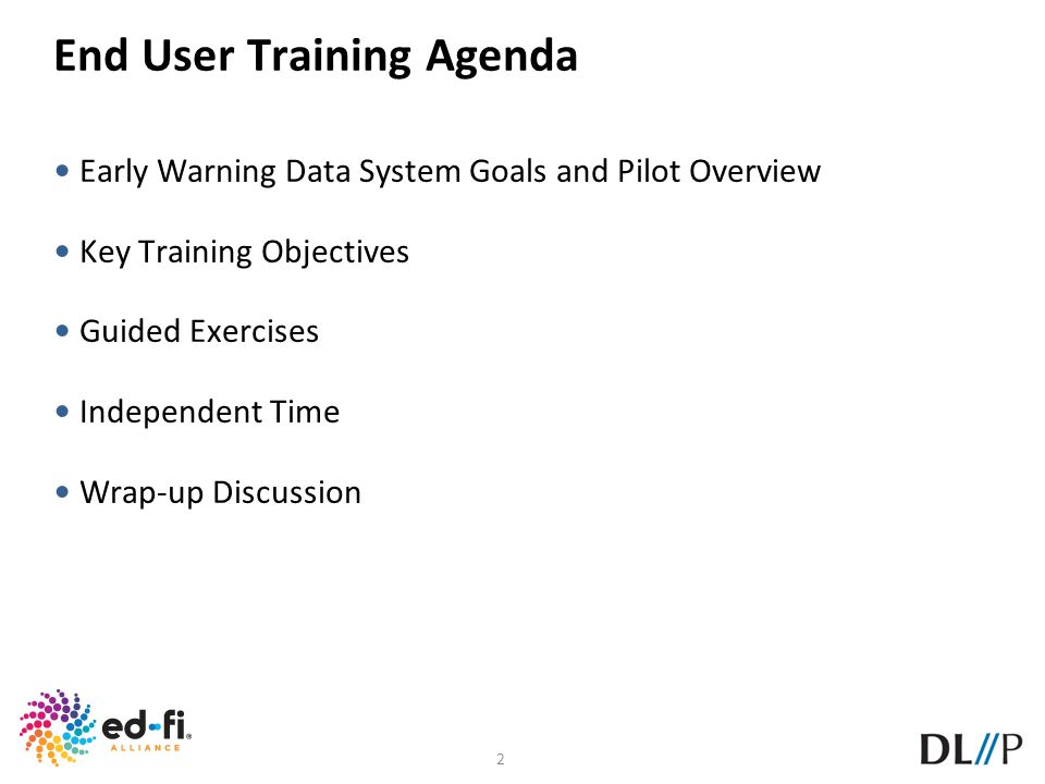 End User Training Agenda