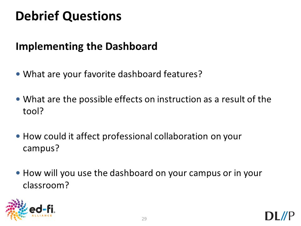 Debrief Questions Implementing the Dashboard