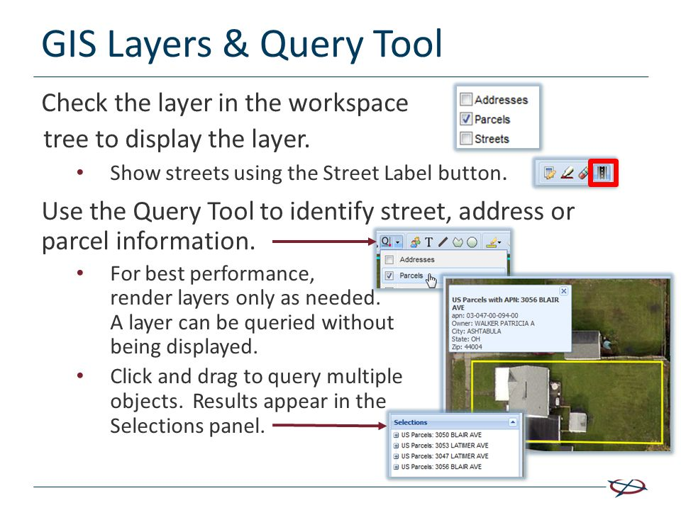 GIS Layers & Query Tool Check the layer in the workspace