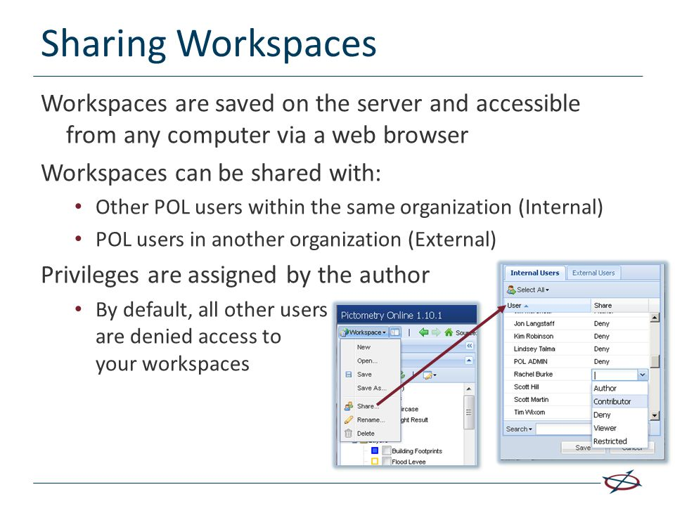 Sharing Workspaces Workspaces are saved on the server and accessible from any computer via a web browser.