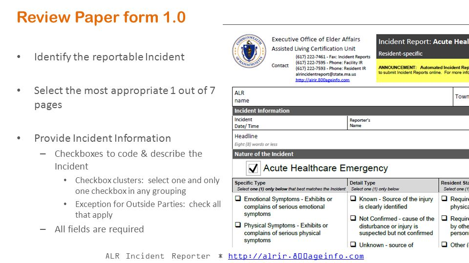 Review Paper form 1.0 Identify the reportable Incident