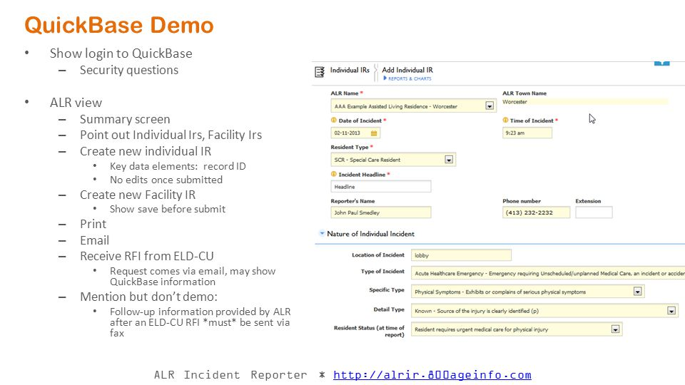 QuickBase Demo Show login to QuickBase ALR view Security questions
