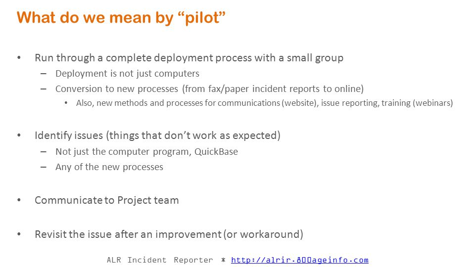 What do we mean by pilot