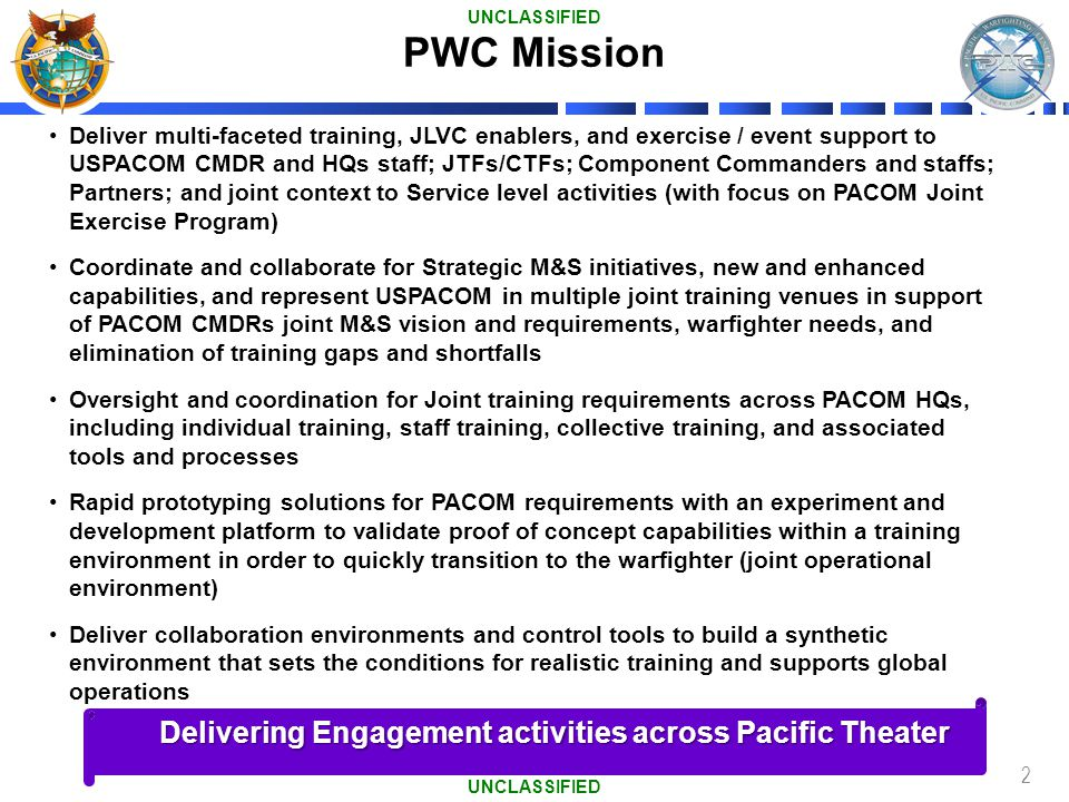 PWC Mission Delivering Engagement activities across Pacific Theater
