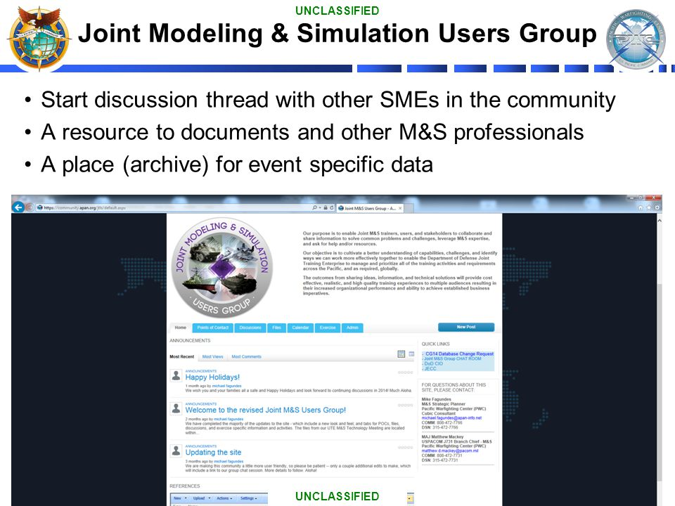 Joint Modeling & Simulation Users Group