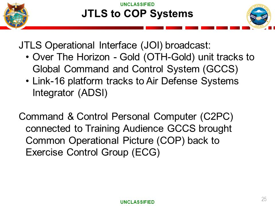 JTLS to COP Systems JTLS Operational Interface (JOI) broadcast: