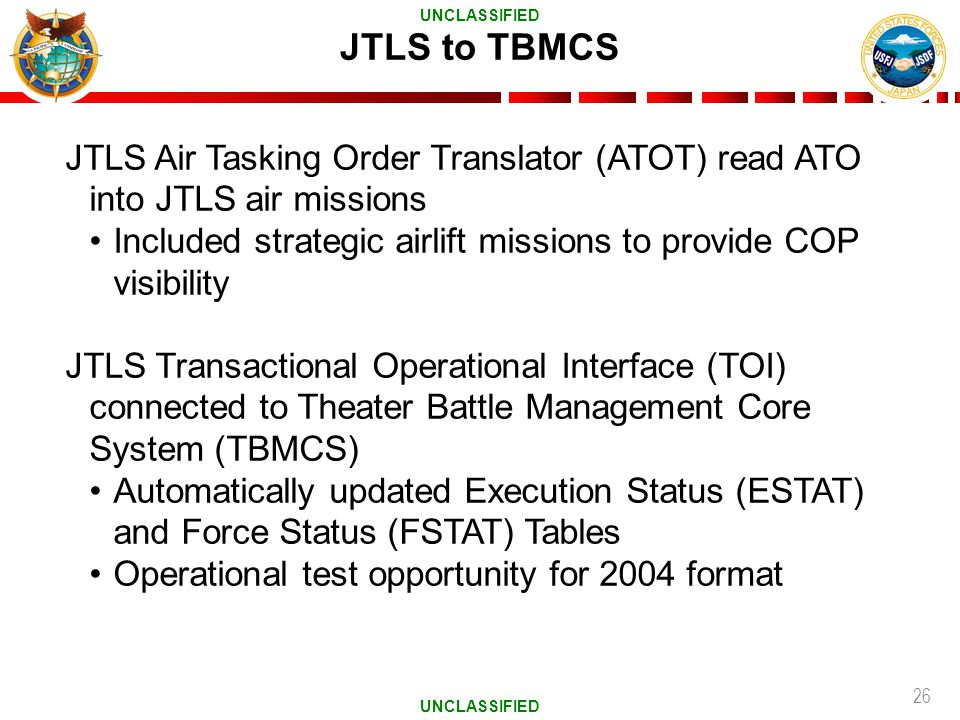 JTLS to TBMCS UNCLASSIFIED. JTLS Air Tasking Order Translator (ATOT) read ATO into JTLS air missions.