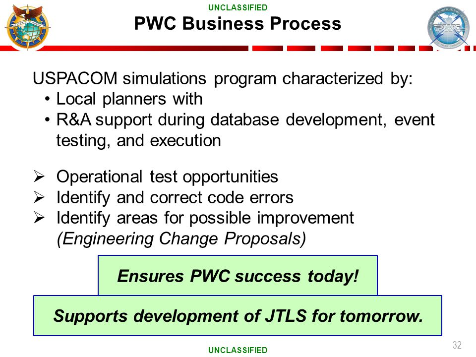 Ensures PWC success today! Supports development of JTLS for tomorrow.