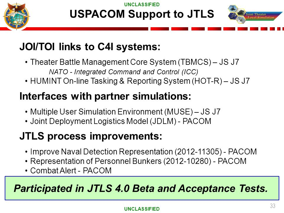 USPACOM Support to JTLS
