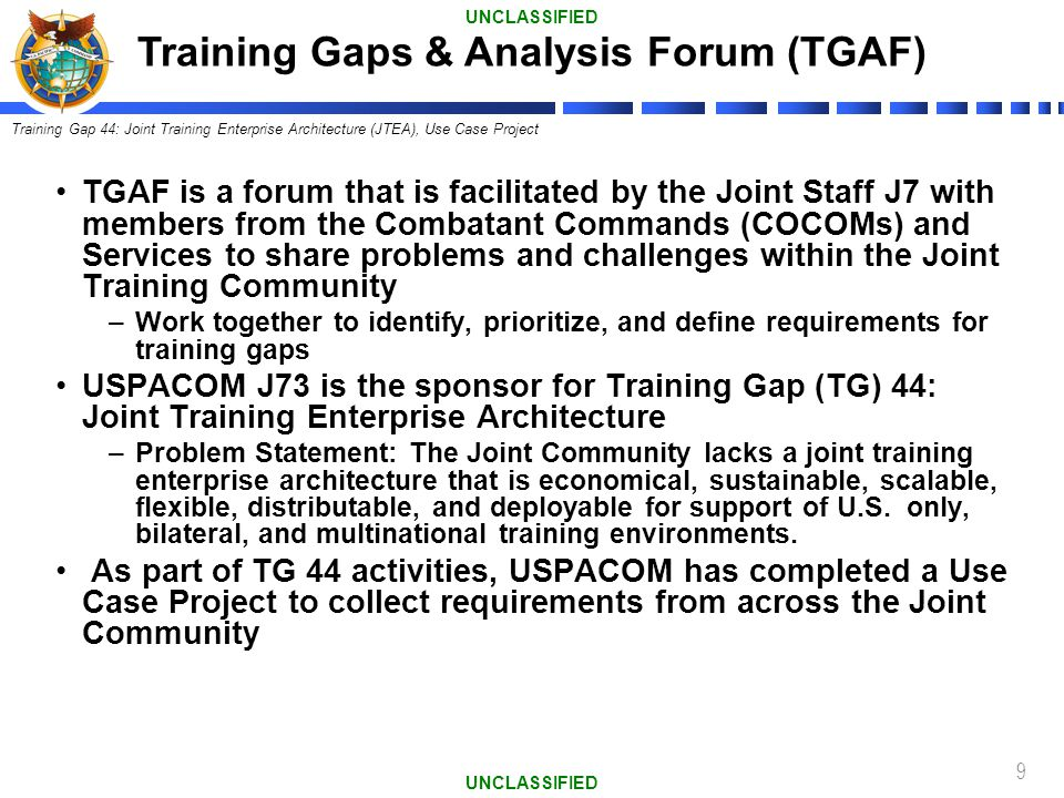 Training Gaps & Analysis Forum (TGAF)