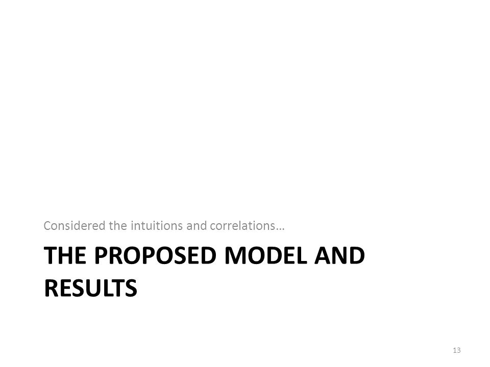 The proposed model and results