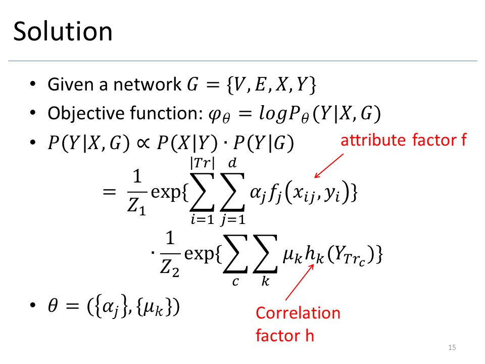 Solution Given a network 𝐺={𝑉,𝐸,𝑋,𝑌}