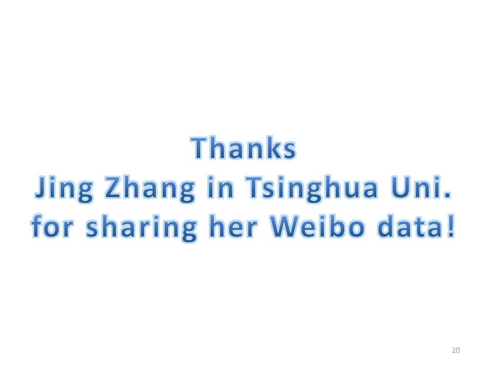Jing Zhang in Tsinghua Uni. for sharing her Weibo data!
