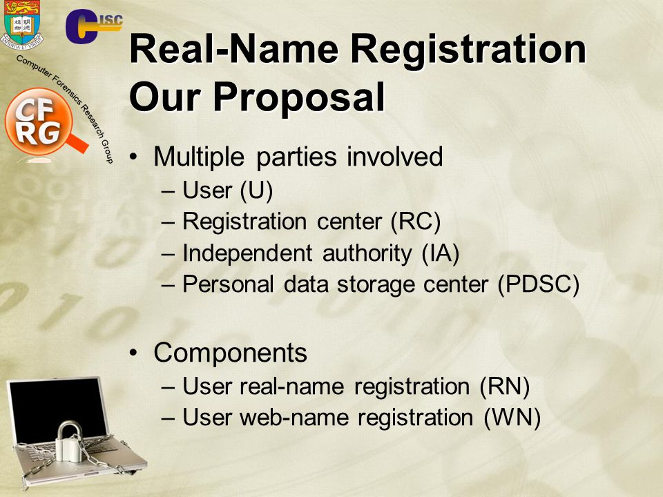 Real-Name Registration Our Proposal