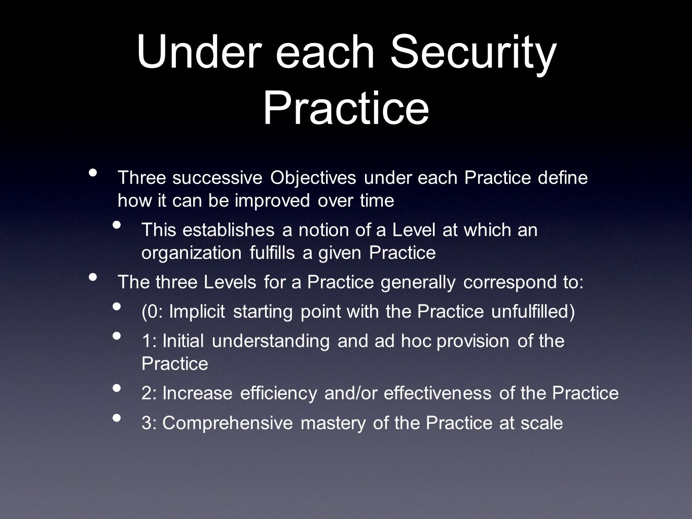 Under each Security Practice
